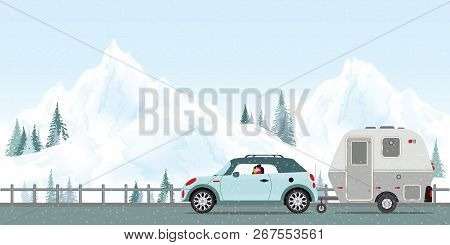Happy Couple Driving Car On Road In Winter With Snow And Cold In The Holiday, Family Vacation Travel