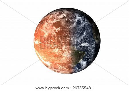 Half planet Earth with atmosphere with half Mars planet of solar system isolated on white background. Death of the planet. Elements of this image were furnished by NASA. For any purprose use. poster