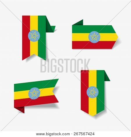 Ethiopian Flag Stickers And Labels. Vector Illustration.