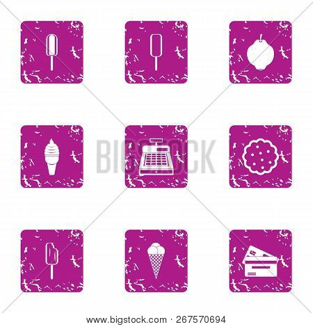 Cash Desk Icons Set. Grunge Set Of 9 Cash Desk Vector Icons For Web Isolated On White Background