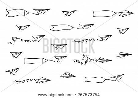 Vector Isolated Black Outline Illustration Of Paper Airplane With Blank Advertising Banner With Text