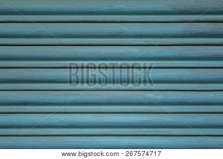 Blue Metal Jalousie With Horizontal Lines. Paint Stains On The Surface.