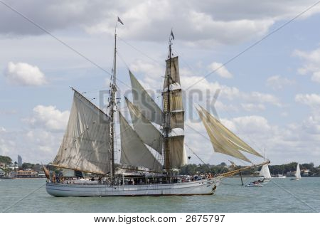 Tall Ship - A  Brigantine Side On