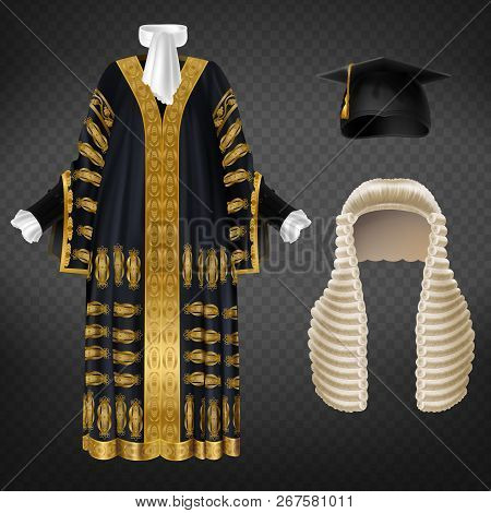 Vector Black Court Gown With Gold Decorative Embroidery, Long Wig With Curls And Mortarboard Cap, Is