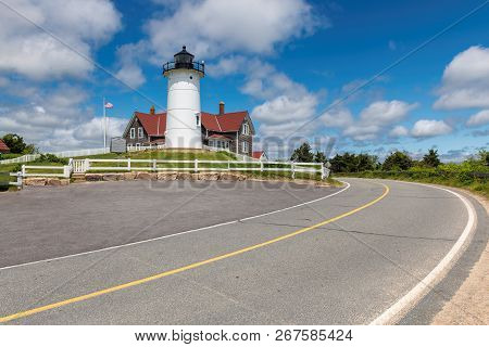 Cape Cod Lighthouse. Drive Near Nobska Lighthouse, Woods Hole, Cape Cod, New England, Massachusetts,