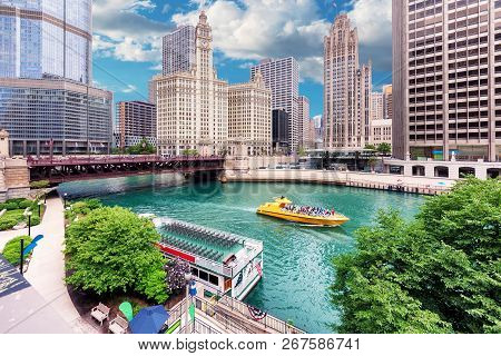 Chicago Skyline. Chicago Downtown And Chicago River With Bridges, Chicago City, Usa.