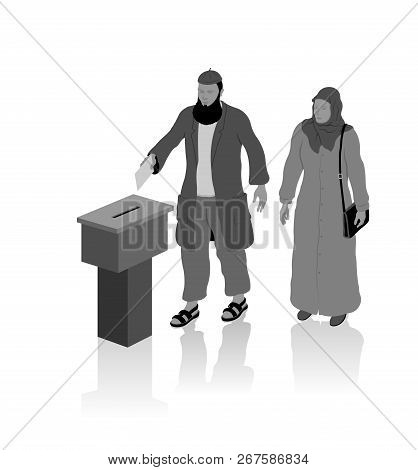 Religious muslim voters are voting for election with ballot box. All the objects, shadows and background are in different layers. poster