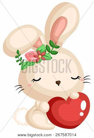 A Cute Bunny Holding A Heart While Wearing A Flower Wreath