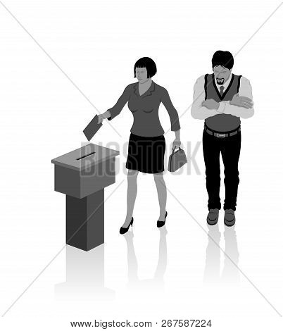 Secular voters are voting for election with ballot box. All the objects, shadows and background are in different layers. poster