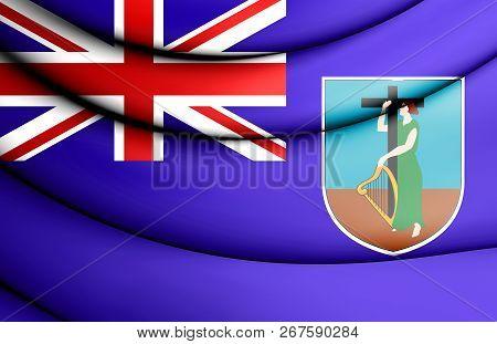 3d Flag Of Montserrat. 3d Illustration. Close Up.