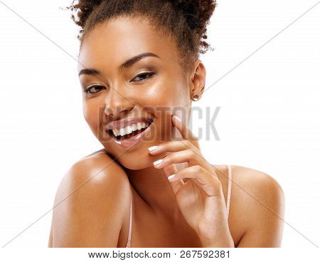 Laughing Girl Touching Her Face. Photo Of African Girl With Flawless Skin On White Background. Skin