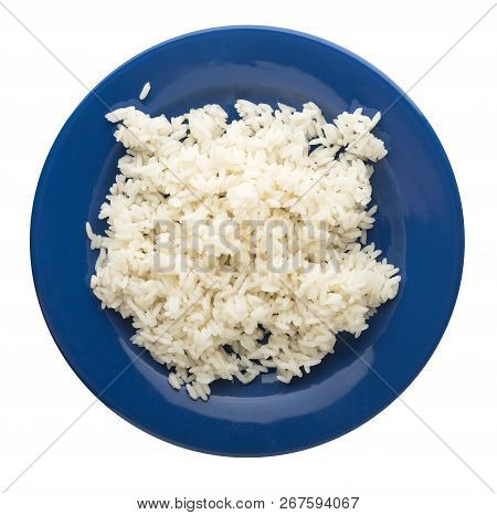 White Rice On A Plate. Rice  Isolated On White Background. Rice Top View .asian Healthy Food