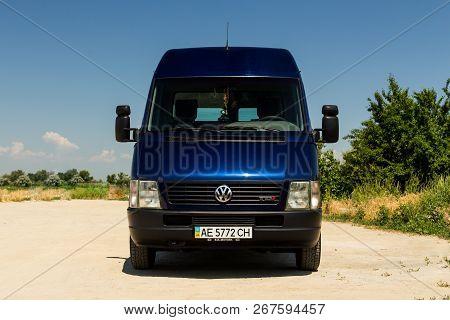 Oleksandrivka, Dnipropetrovsk Region, Ukraine - June 16, 2015: Volkswagen Lt Truck Blue Color Near T