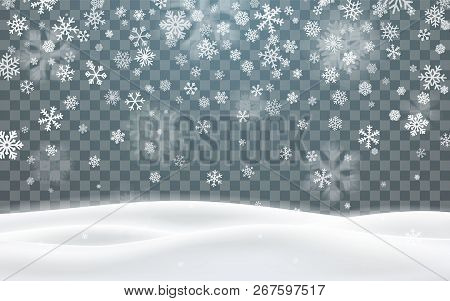 Christmas Snow. Falling Snowflakes On Dark Background. Snowflake Transparent Decoration Effect. Xmas