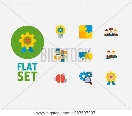 Partnership Icons Set. Successful And Partnership Icons With Teamwork, Partnership And Technical Par