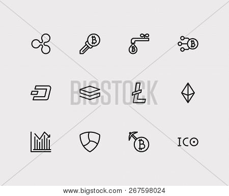 Blockchain Icons Set. Coin Faucet And Blockchain Icons With Ethereum, Transaction And Nem. Set Of Id