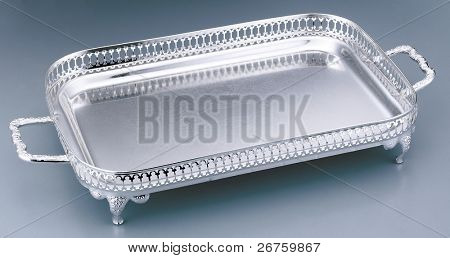 Stylish silver serving tray isolated on clean background.