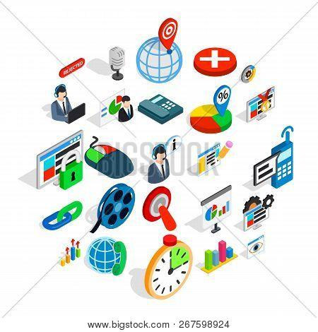 Information Bureau Icons Set. Isometric Set Of 25 Information Bureau Vector Icons For Web Isolated O
