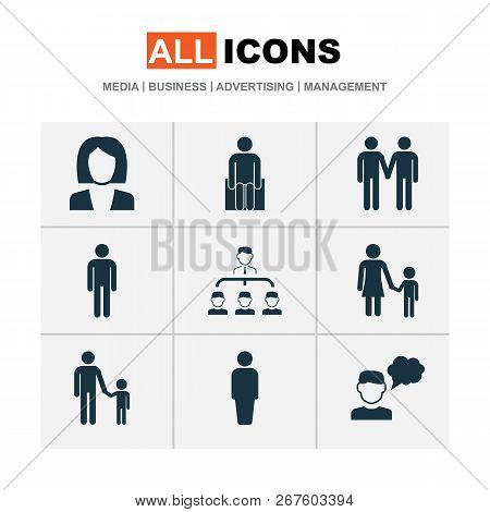 Person Icons Set With Job Woman, Family, Thinker And Other Family Elements. Isolated Vector Illustra