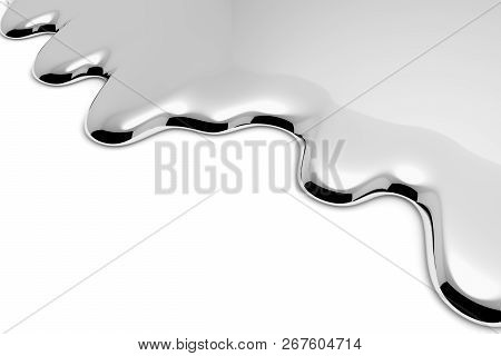 Melt Metal Liquid On White With Shadows Abstract Metallic Background (chrome, Mercury, Silver Or Oth