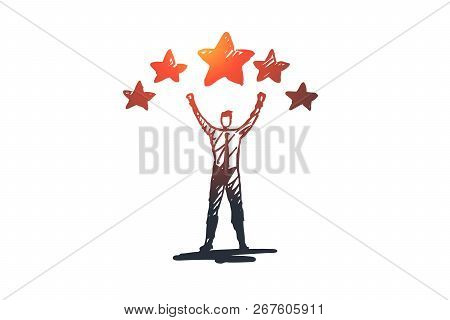 Experience, Satisfaction, Positive, Rating Concept. Hand Drawn Man And Rating Stars Concept Sketch.
