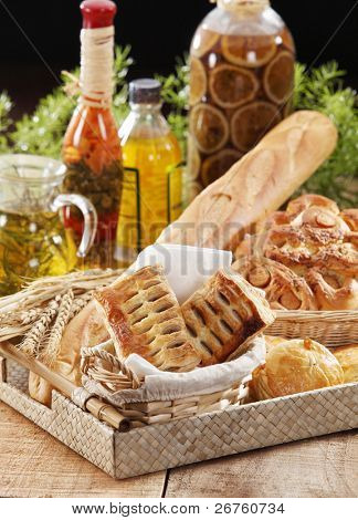 A varity of types of bread.