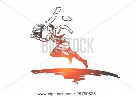 Deadline, Stress, Business, Job, Overworked Concept. Hand Drawn Employee With A Lot Of Paper Concept