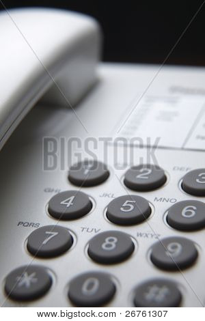 close up of the phone key pad
