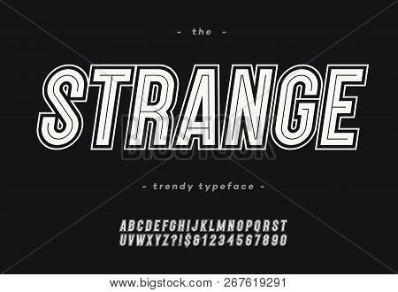 Vector Bold Strange Alphabet Modern Typography Sans Serif Style For T Shirt, Racing, Game, Promotion