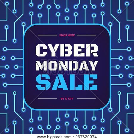 Vector Cyber Monday Sale Banner On Electric Background For Your Website, Shop, Christmas Sign, Super