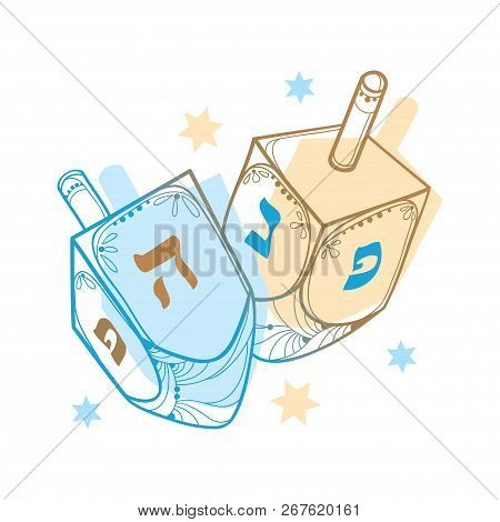 Vector Drawing With Outline Hanukkah Or Hanuka Dreidel Or Sevivon With Hebrew Alphabet In Blue And P