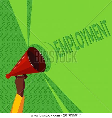 Handwriting Text Writing Employment. Concept Meaning State Of Having Paid Work Occupation Utilizatio