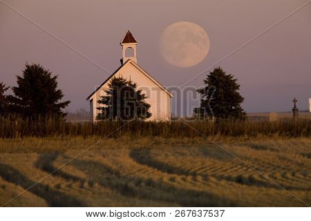 Old Country Church In Saskatchewan Full Harvest Moon