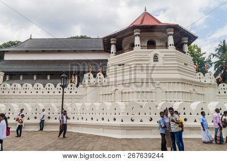 Kandy, Sri Lanka - July 19, 2016: Walls Of The Temple Of Sacred Tooth Relic.