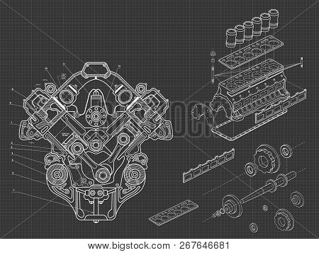 Technical Blue Background With Drawings Of Details And Mechanisms.engine Line Drawing Background. Ve