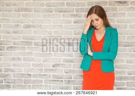 Young Woman With Headache, Holding Head, Sad, Sad And Brooding