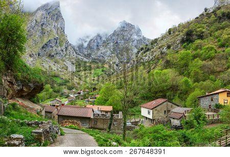 View on Cain de Valdeon in a cloudy spring day, Picos de Europa,  Castile and Leon, Spain.