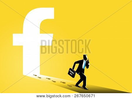 An Illustration Of Businessman Sneaking Out Of Big F Word And Steal Personal Data