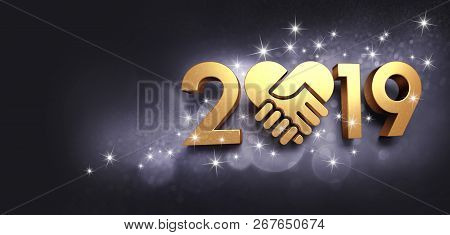 New Year date 2019 colored in gold, composed with a golden heart, glittering on a black background - 3D illustration