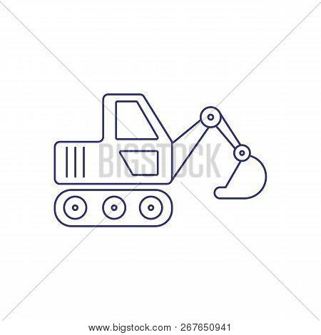 Excavator Line Icon. Digger, Roadwork, Construction Site. Construction Concept. Vector Illustration