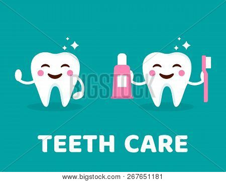 Teeth Care Concept. Healthy Smiling Tooth With Toothbrush And Toothpaste. Cute Teeth With Happy Emoj