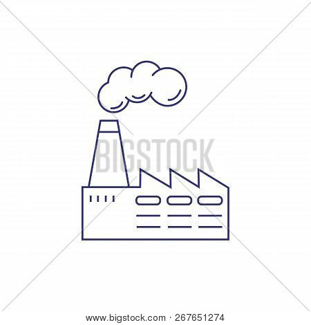 Manufacturing Plant Line Icon. Chemical Plant, Industrial Production, Pollution. Factory Concept. Ve