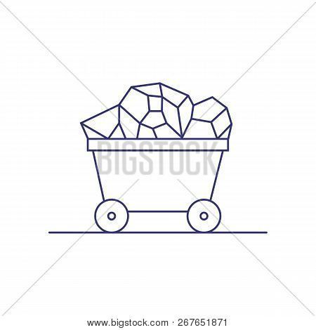 Trolley With Coal Line Icon. Coal Mining, Treasure, Mineral. Extraction Concept. Vector Illustration