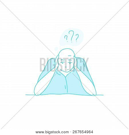 Sick Stressed Dizzy Person Vector Hand Drawn Illustration