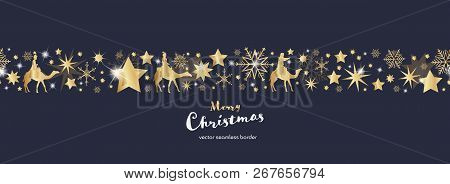 Christmas Time. Dark Blue And Golden Snowflake And Star Seamless Border With Three Kings. Text : Mer