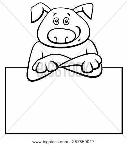 Black And White Cartoon Illustration Of Funny Dog With White Card Or Board Greeting Or Business Card