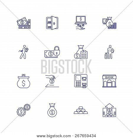 Banking And Money Icons. Set Of Line Icons On White Background. Bank, Banknote, Purse. Banking And M