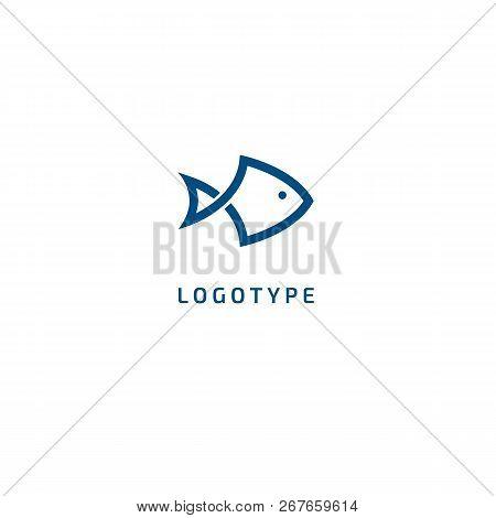 Fish Silhouette Logo. Vector Abstract Minimalistic Illustration Fishing. Tuna, Salmon Icon. Aquarium
