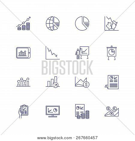 Economy Graphics Icons. Set Of Line Icons On White Background. Graphic, Money, Diagram, Rates. Vecto