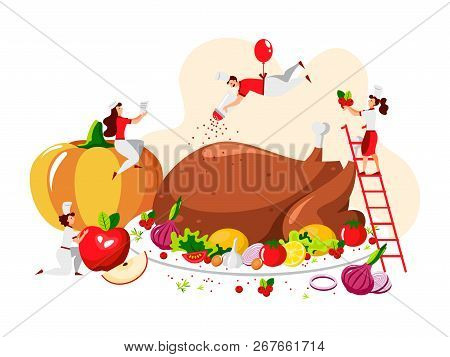 Vector Flat Design Of People Who Cook A Festive Turkey For Happy Thanksgiving Day. Vector Illustrati
